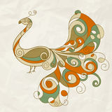 Stylized peacock on crumpled paper Stock Images