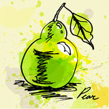Stylized pear. On grunge background Stock Photography