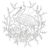 Stylized pelican bird among foliage. Freehand sketch for adult anti stress coloring book page.  Stock Photo