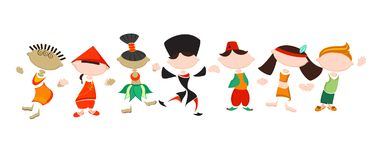 Stylized people in national costumes. Funny stickers of different nationality people. Friendship of Peoples. Traditional costumes. Concept of tolerance Royalty Free Stock Image