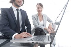 Business team working at a Desk royalty free stock photos