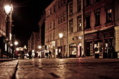 Stylized photo of the city's old street Stock Images
