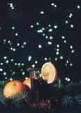 Stylized photo of mulled wine on a christmas background Stock Photo