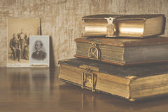 The stylized photo of the old albums Stock Image