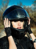 Stylized photo of woman and bike Royalty Free Stock Photography