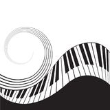 Stylized piano keys and stave. Music  background, template, poster. Black and white colors Stock Photos