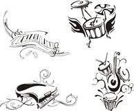 Stylized piano and percussion Royalty Free Stock Image