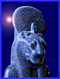 Stylized Picture of the Egyptian Lion God, Maahes. Maahes is the ancient Egyptian solar war god who took the form of a lion. He is often depicted with Ureas, the Stock Images