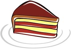 Stylized colorful piece of cake isolated. Image representing a stylized cake usable as greeting card, label or other project about cakes Stock Image