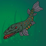 Stylized pike get ready to attack. Stylized pike - aggressive underwater attack Stock Photos