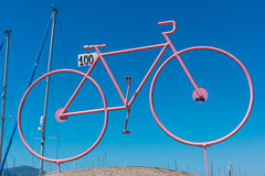 Stylized pink bike at the harbor Royalty Free Stock Photo