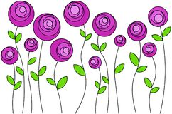 Pink flowers arranged in order, vector. Stylized pink flowers that stand in a row, on long stems, without overlapping each other, vector vector illustration