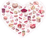 Stylized pink heart made of gift boxes Stock Image