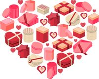 Stylized pink heart made of hearts Stock Photo