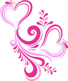 Stylized pink heart Valentine's day inscribed in the ornate pattern. Card on Valentine's day in vector Stock Photography
