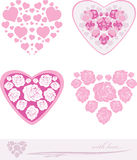 Stylized pink hearts. Decorative elements for event design Royalty Free Stock Photo