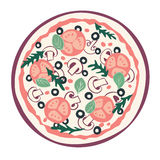 Stylized pizza. With tomato, mushrooms and olives. Vector illustration. with tomato, mushrooms and olives. Vector illustration vector illustration