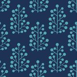 Stylized plants on a blue background. Seamless pattern for your design Stock Photography