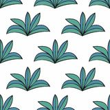 Stylized plants in cartoon style. Seamless background. For your design Royalty Free Stock Photos
