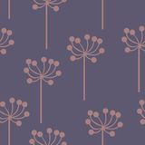 Stylized plants on a purple background. Seamless pattern for your design Stock Photo