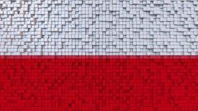 Stylized mosaic flag of Poland made of pixels, 3D rendering. Stylized Polish flag made of big pixels Stock Photography