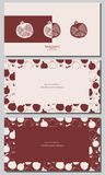 Stylized pomegranate. Cards design set. stock illustration