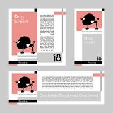 Set of vector cards with stylized Poodle on graphic background. Vector Illustration. vector illustration