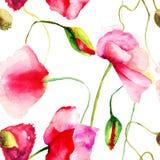 Stylized Poppy flowers illustration Royalty Free Stock Photo