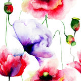 Stylized Poppy flowers illustration Royalty Free Stock Photography