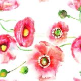 Stylized Poppy Flowers Illustration Wallpapercan Be Used For W Stock Photography