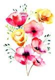 Stylized Poppy flowers Stock Photography