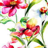 Stylized Poppy and Narcissus flowers illustration Royalty Free Stock Photo