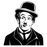 Stylized portrait of actor Charlie Chaplin.Isolated on white background. stock illustration