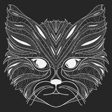 Stylized portrait of a cat. The head of a cat. Linear Art. Ornamental portrait. A pet. Mask. Tattoo. Royalty Free Stock Image