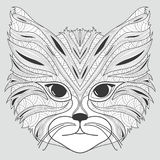 Stylized portrait of a cat. The head of a cat. Linear Art. Ornamental portrait. A pet. Mask. Tattoo. Stock Image
