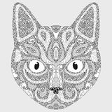 Stylized portrait of a cat. The head of a cat. Linear Art. Ornamental portrait. A pet. Mask. Tattoo. Art. Royalty Free Stock Photo