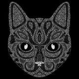 Stylized portrait of a cat. The head of a cat. Linear Art. Ornamental portrait. A pet. Mask. Tattoo. Art. Stock Photography