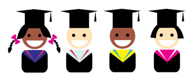 Stylized portrait of a graduate in the Graduation cap. Vector Stock Photos