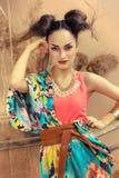 Stylized portrait of a Japanese geisha Stock Photos