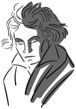 Stylized portrait of musician Beethoven isolated Stock Images