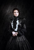 Stylized portrait of a victorian lady in black royalty free stock image