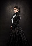 Stylized portrait of a victorian lady in black royalty free stock images