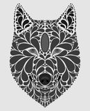 Stylized portrait of a wolf. Abstract dog head. A predatory animal. Black and white illustration. Tattoo. Print. Stylized portrait of a wolf. Abstract dog head Stock Photo