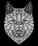 Stylized portrait of a wolf. Abstract dog head. A predatory animal. Black and white illustration. Tattoo. Print. Stylized portrait of a wolf. Abstract dog head Stock Images