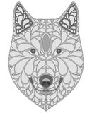 Stylized portrait of a wolf. Abstract dog head. A predatory animal. Black and white illustration. Tattoo. Print. Stylized portrait of a wolf. Abstract dog head Royalty Free Stock Image