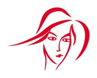 Stylized portrait of a woman. Red and white graphics. Vector graphics. royalty free stock photography