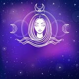 Stylized portrait of the young beautiful girl with long hair. Esoteric symbol of a feminine, goddess, mermaid. Background - the night star sky. Vector Royalty Free Stock Photo