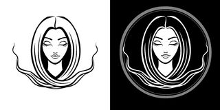 The stylized portrait of the young beautiful girl with long hair. The linear isolated drawing. Vector illustration: The stylized portrait of the young beautiful Royalty Free Stock Image
