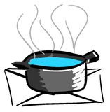 Stylized Pot on fire. Image representing a pot on fire. An idea to talk about food and kitchens royalty free illustration