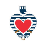 Stylized prisoner with a heart icon. Royalty Free Stock Photo